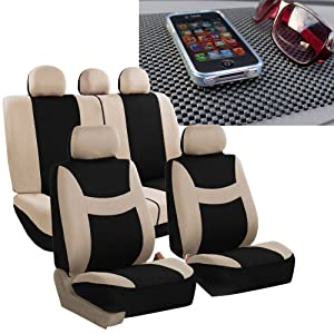 FH GROUP FH-FB030115 Light & Breezy Cloth Seat Cover Set Airbag & Split Ready, Beige / Black with FH GROUP FH1002 Non-slip Dash Grip Pad- Fit Most Car, Truck, Suv, or Van