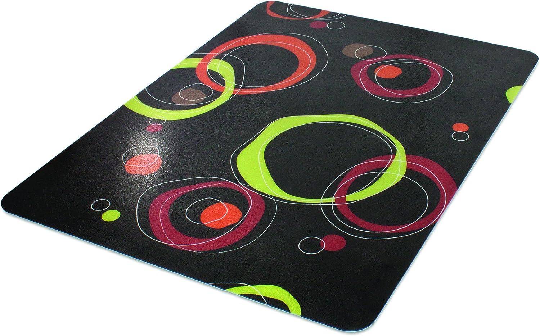 Deflecto DuraMat Decorative Chair Mat, Low Pile Carpet Use, Rectangle, Straight Edge, 36 x 48 Inches, Circle Black Print CM13142CCB