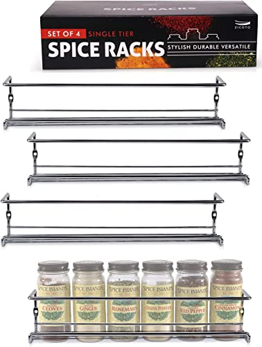 Premium Spice Rack Organizer for Cabinets or Wall Mounts – Space Saving Set of 4 Hanging Racks – Perfect Seasoning Organizer For Your Kitchen Cabinet, Cupboard or Pantry Door
