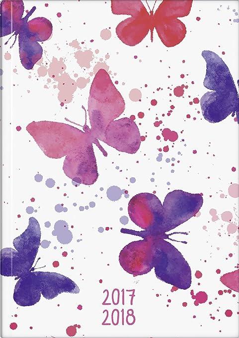 Brunnen Agenda scolaire, 1 semaine sur 2 pages, calendrier: juillet 2017 à décembre 2018, 208 pages Couverture rigide - 1 semaine sur 2 pages motif papillons