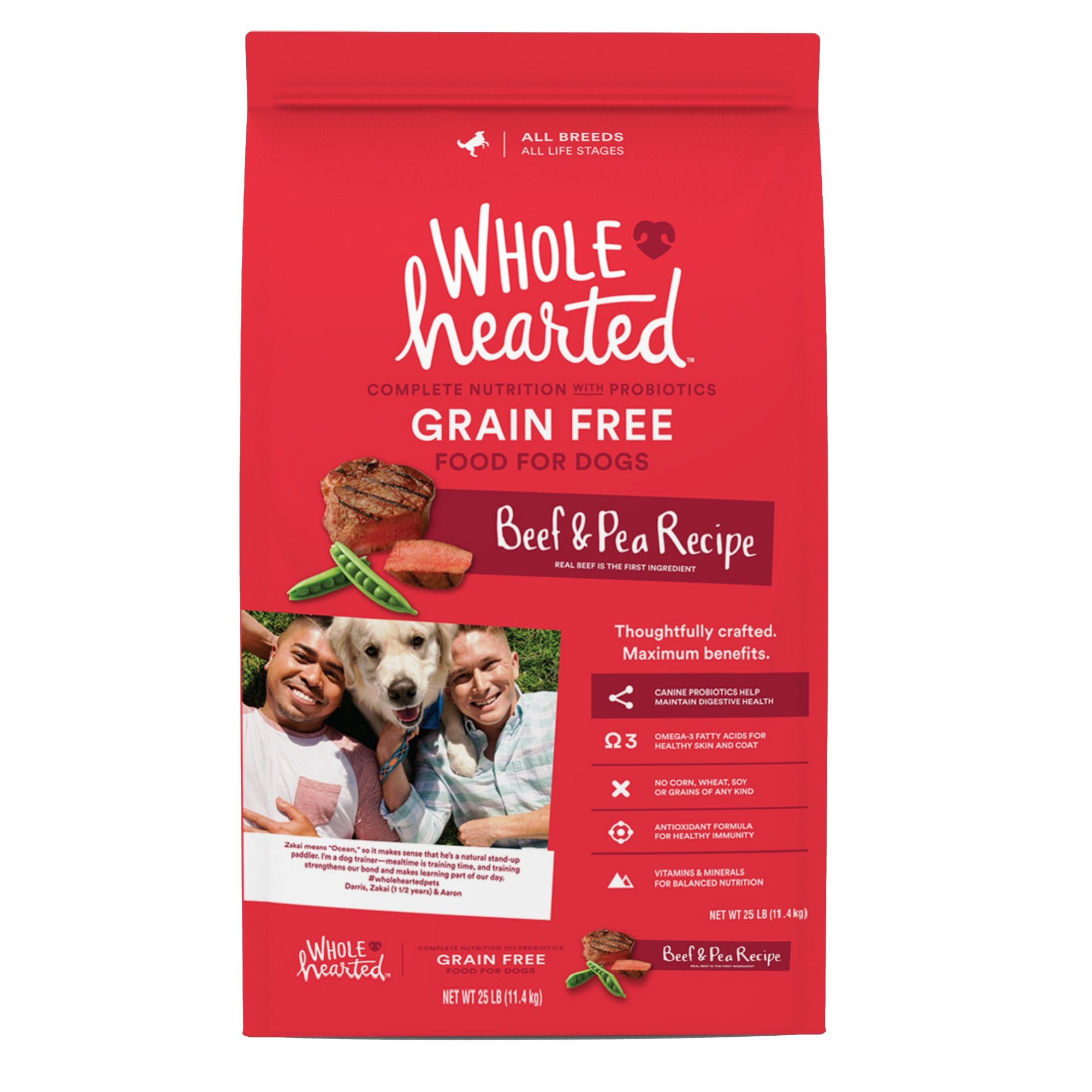WholeHearted Grain Free All Life Stages Beef & Pea Formula Dry Dog Food, 40 lbs. by WholeHearted