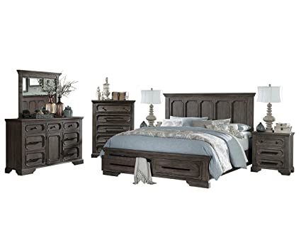 Amazon.com: Thiara French Farmhouse 5PC Bedroom Set Cal King Storage ...
