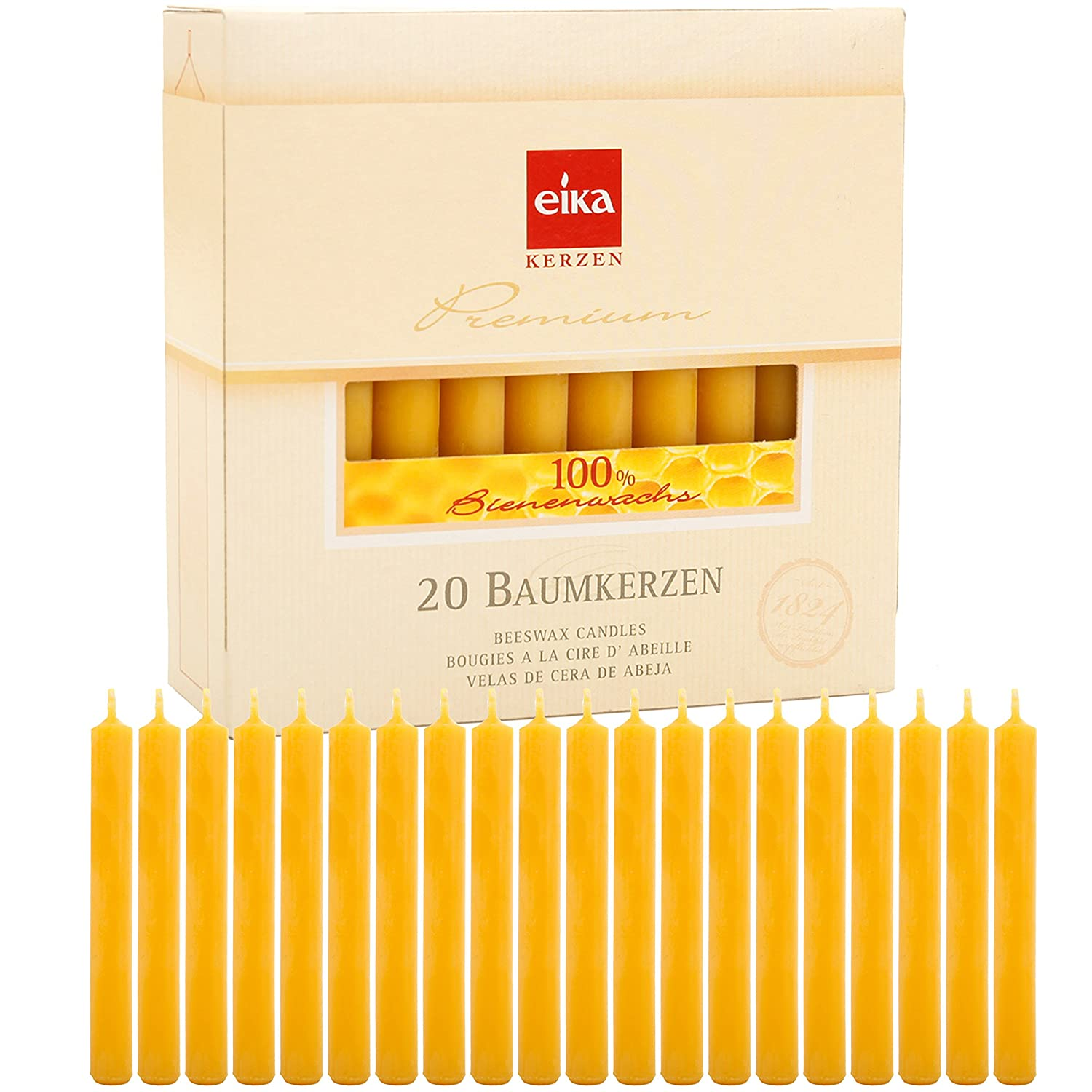 Brubaker By Eika Box of 20 Finest Beeswax Tree Candles Honey Yellow 100% Beeswax High 10.5 Cms, ø 1.25 Cms Made in Germany Baumkerzen20erP_Bienen100Proz