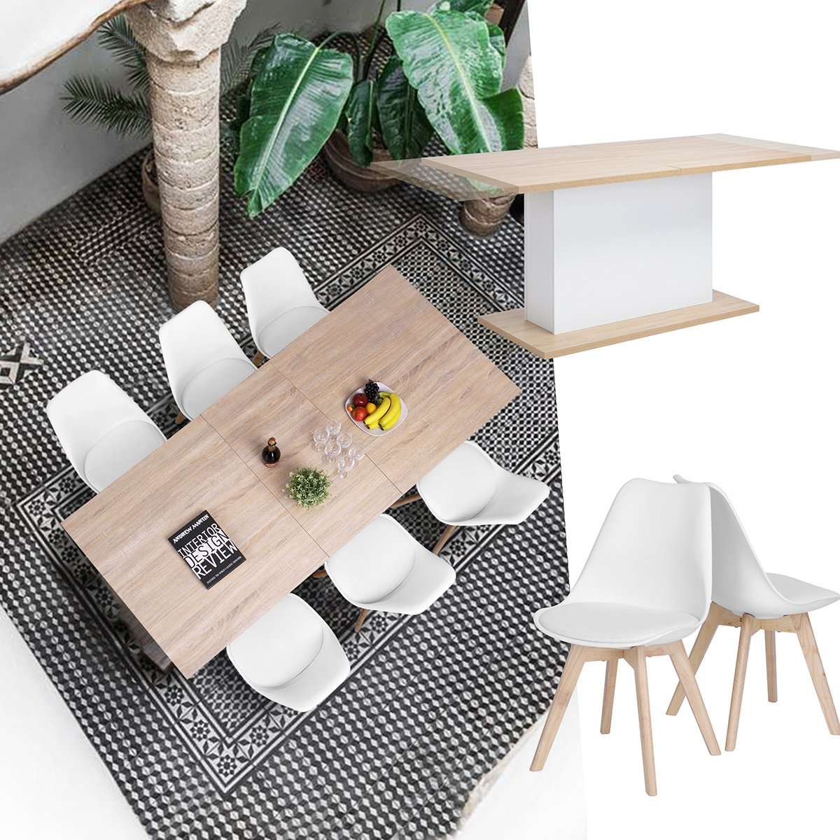 Extendable Rectangular Dining Table, Mltifunction Space Saving Wood Table (Extendable Beech Table) by HOMY CASA (Image #2)