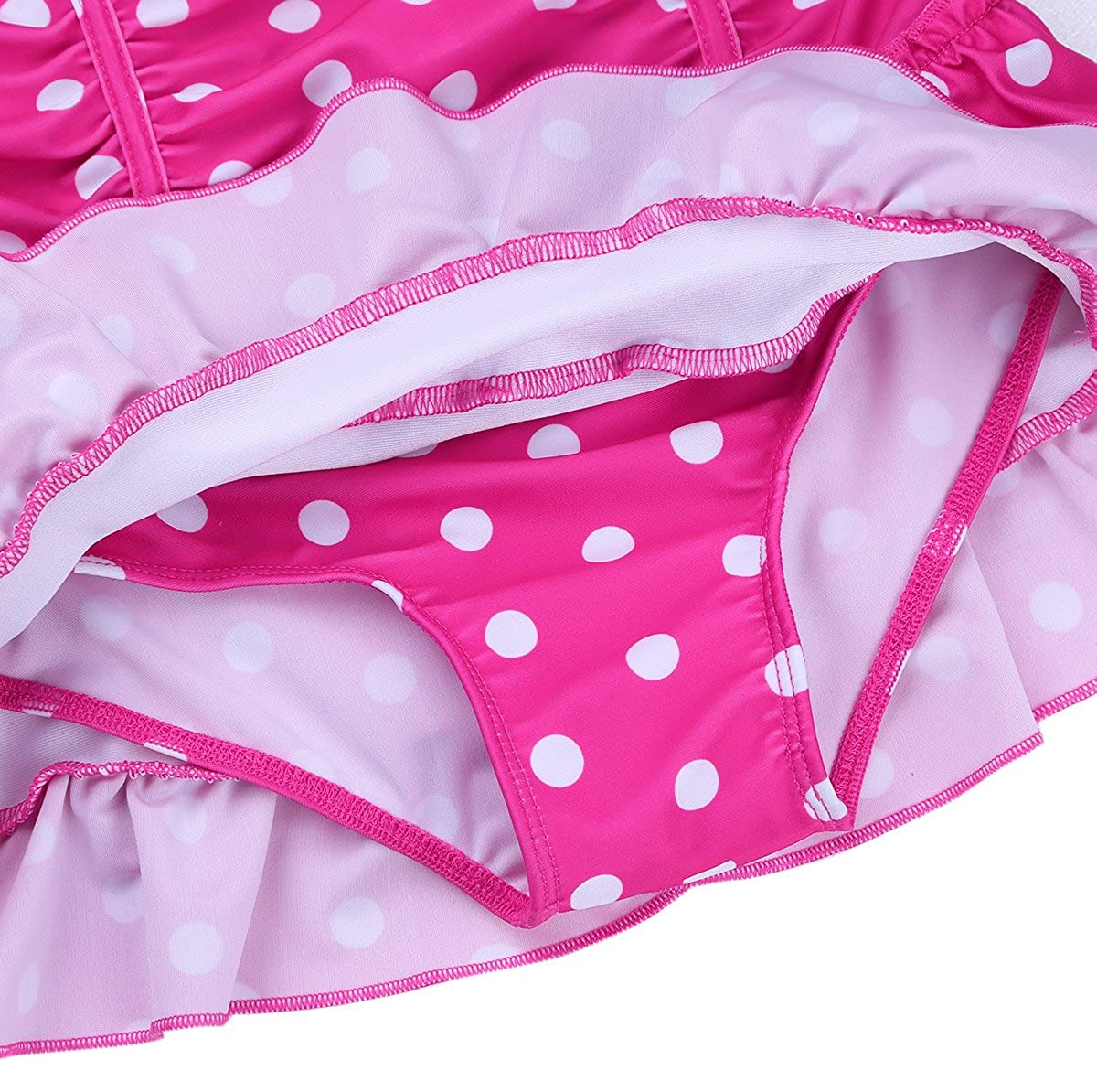 YiZYiF Enfant Fille Maillot /à Pois Tutu Robe de Bain Licou Tankini Combinaison Justaucorps de Bain Body de Sport V/êtement de Natation Robe Plage Bikini 3-14 Ans