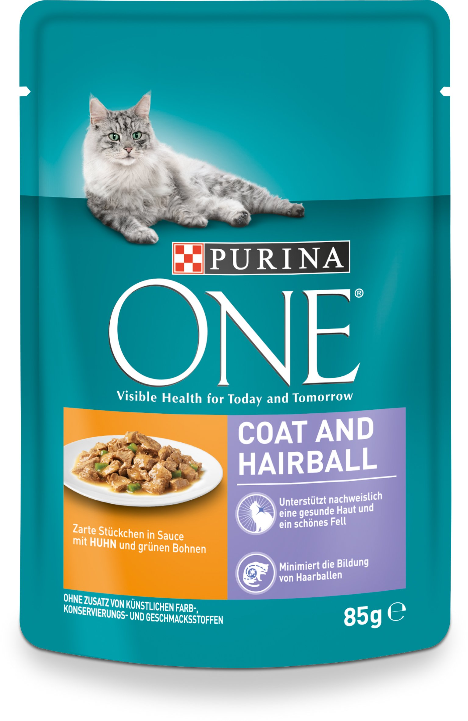 Purina One Cat Wet Food Coat & Hair Ball with Chicken and Green Beans 24x85g