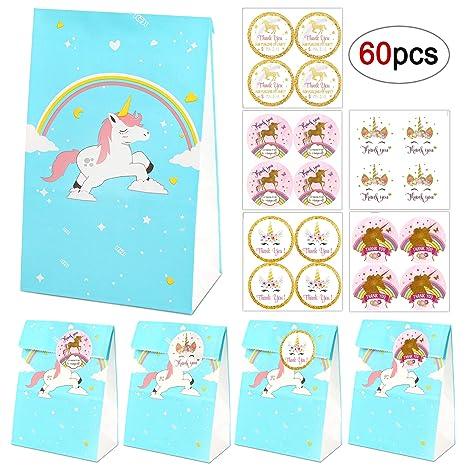 Bolsas de regalo de unicornio, 20 bolsas de papel de arco iris azul unicornio+40 pegatinas de agradecimiento de unicornio mágico, Bolsas de regalo de ...