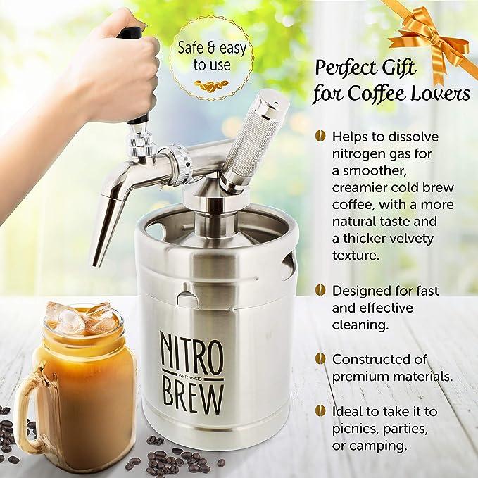 G Francis Nitro máquina de café para preparar café frío, 64 onzas, infusor de nitrógeno de acero inoxidable, máquina de café de nitrógeno para café ...