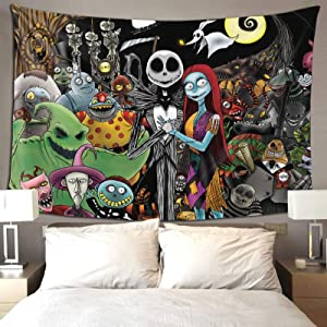 Nightmare Before Christmas Tapestry 80x60 Inch Wall Hanging Tapestries Extra Large Wall Decoration for Living Room Bedroom Aisle Poster Home Décor