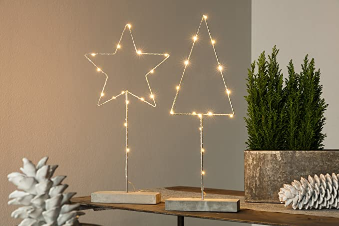 Weihnachtsdeko LED Baum mit Kupferdraht umwickelt, 15 LED Lichtern ...