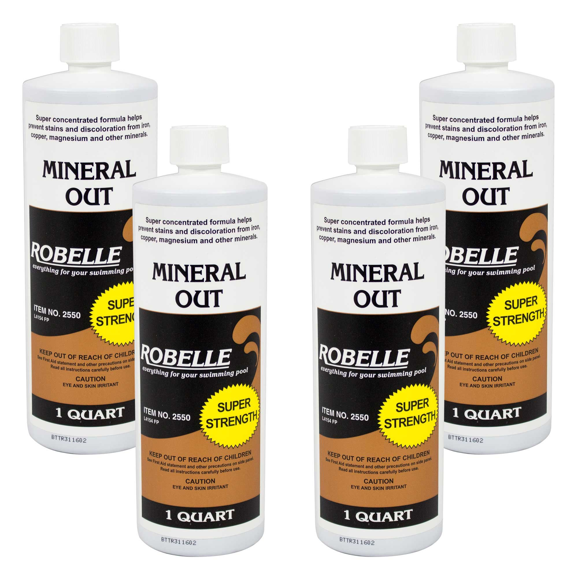 Robelle 2550-04 Mineral Out Stain Remover for Swimming Pools, 1 Quart, 4 Pack by Robelle