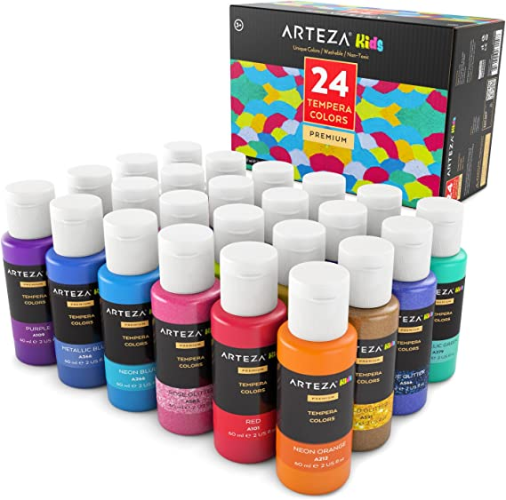 Arteza Coffret peinture enfant tempera 24 couleurs   Peinture gouache enfant   Gouache en tube 29 ml   Peinture enfant lavable avec paillettes, métallisée, fluorescente ou standard