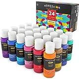 ARTEZA Premium Tempera Paint Set, 24 Colours, (60 ml / 2 US fl oz), Flourescent, Glow in The Dark, Glitter, Metallic & Neon Colours (24 Colours x 2 oz Each), for Kids Projects