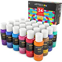 Arteza Kids Premium Tempera Paint Set, Flourescent, Dark in The Glow, Glitter, Metallic & Neon Colors (24 Colors x 2 oz Each)