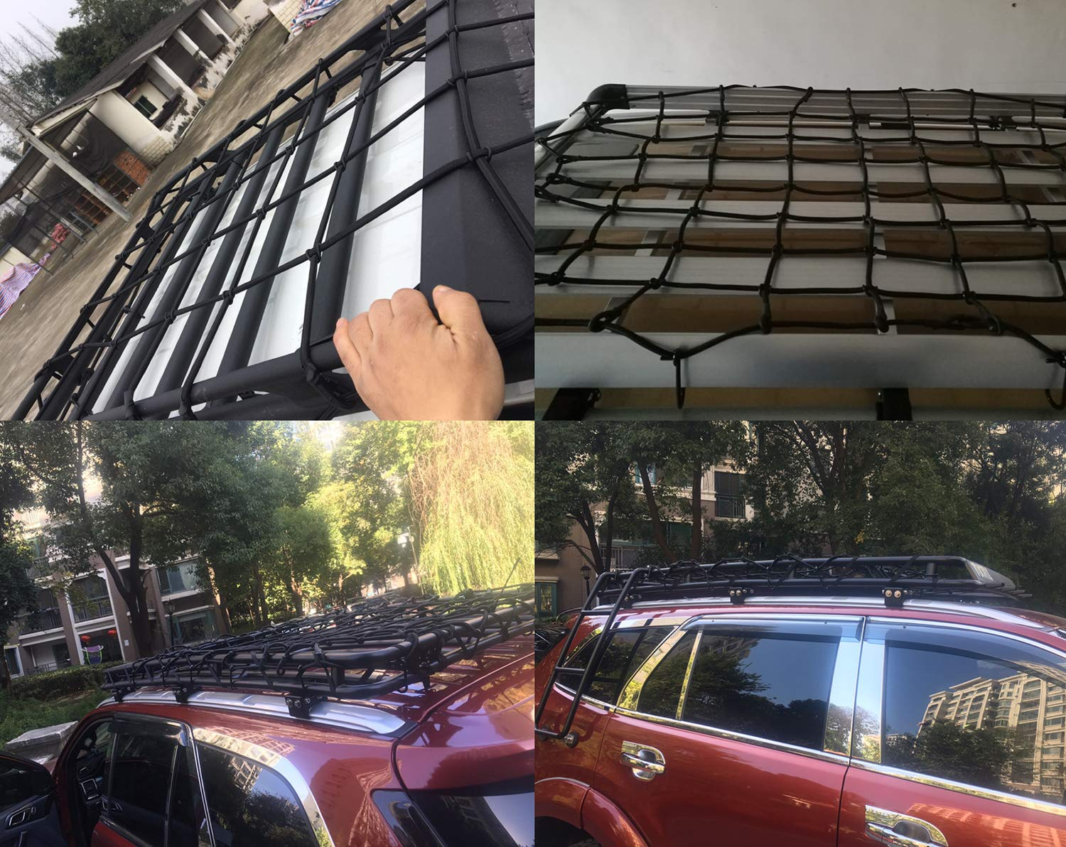 Tavie 3x4 35x47 SUV Roof Rack Bungee Cargo Netting Net Nets Car Pickup Luggage Tighter Trucks Truck Trunk Bed Carrier Trailer Covers Cover with 14 Metal Hooks