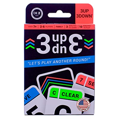 Ok2Win 3UP 3DOWN Card Game | Best Fun Family Games for Kids, Teens, Adults | 2-6 Players/Deck ● Up to 12 Players with 2 Decks ● Make Road Trips, Camping, Beach Time, Summer Camp, Family Time Exciting: Toys & Games