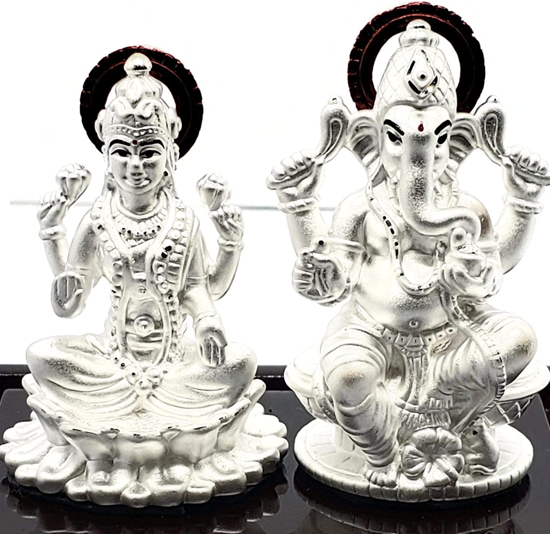 Amazon Com Ganesha Lakshmi Laxmi Pure Silver 99 5 Idol Statue