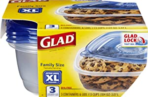 Glad Family Size Food Storage Containers, XL Square (104 Oz) - 3 Count, Standard