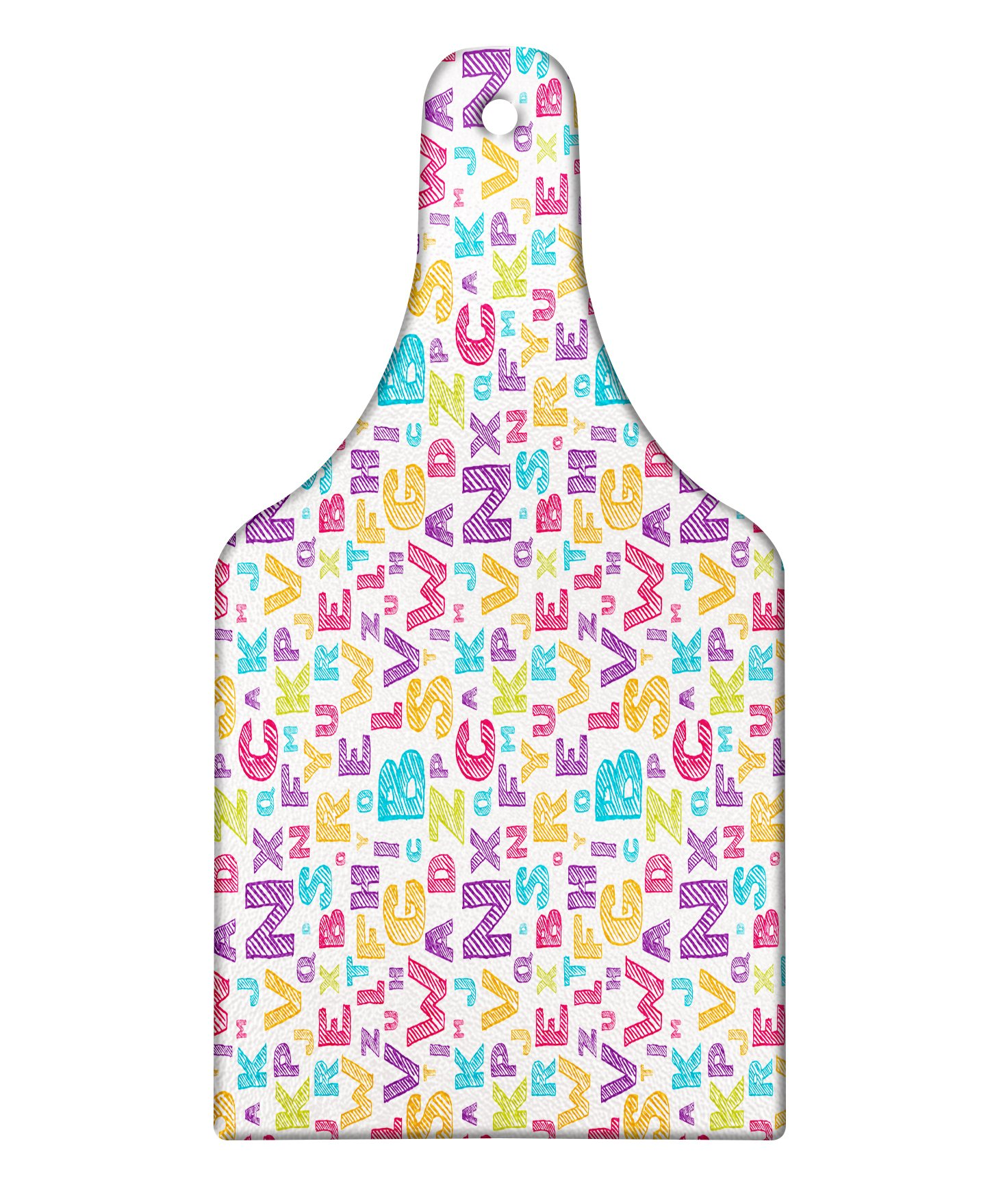 Lunarable ABC Kids Cutting Board, Scratched Letters Primary School Capital Fonts Study Pupils Creative Kids Artwork, Decorative Tempered Glass Cutting and Serving Board, Wine Bottle Shape, Multicolor