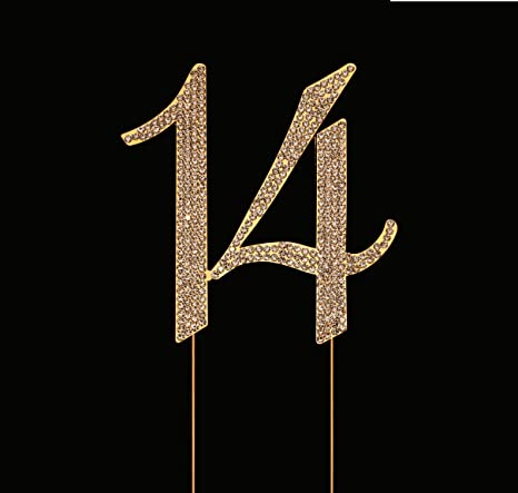 Number 14 for 14th Birthday Cake Topper, 14th Anniversary Cake Topper, 14th Birthday Party Decorations, Joint Gold, 4.5 Inches Tall