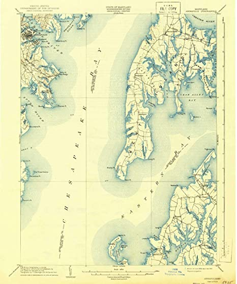 Amazon.com : YellowMaps Annapolis MD topo map, 1:62500 Scale ...