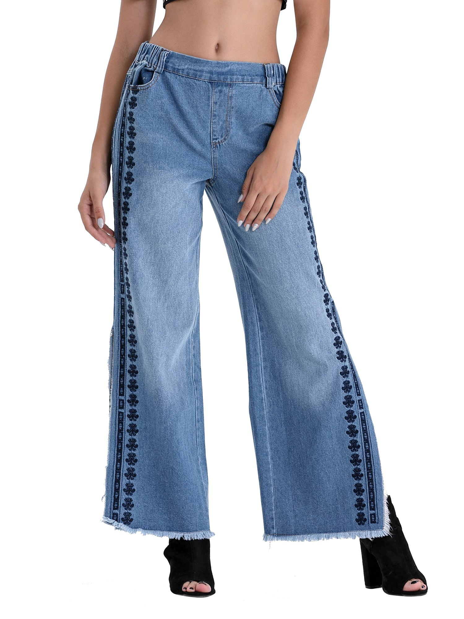 BARGOOS Women Summer Casual Elastic Wide Leg Jeans Denim Pants
