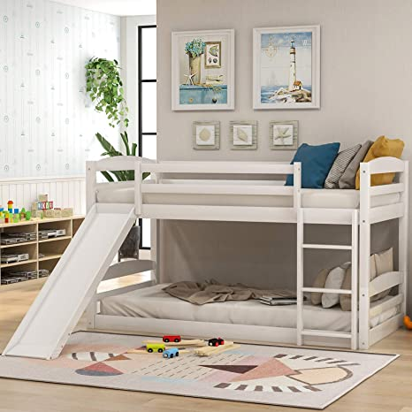 Amazon Com Twin Over Twin Bunk Bed With Slide Wood Twin Low Bunk Bed For Kids With Built In Ladders White Kitchen Dining