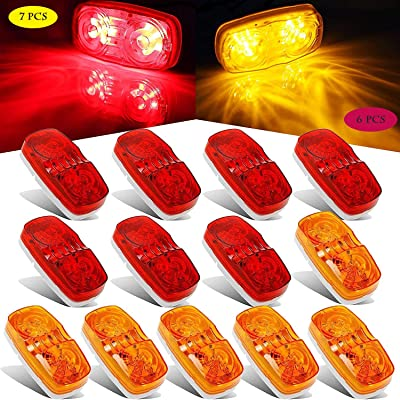 Partszone Trailer Side Marker Lights Double Bullseye Amber & Red 10 LED Trailer Clearance Light Bulls Tiger Eye for Truck RV Boat Camper Trailers [7 Red & 6 Amber]: Automotive
