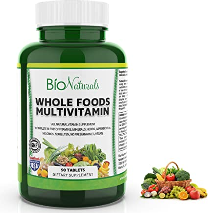 Amazon.com: Bio Naturals Whole Foods Multivitamin For Men & Women with 100+  Nutrients – Vitamins A B C D E, Minerals, Herbs, Omega 3, Probiotics,  Organic Extracts – No GMOs, No Gluten, 100% Vegan – 90 Count: Health &  Personal Care