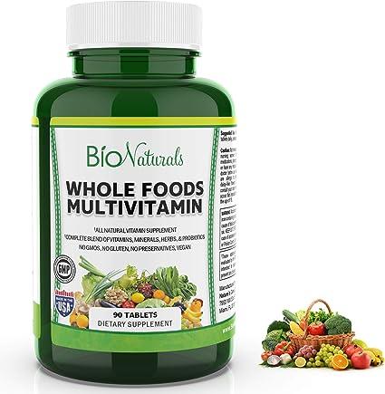 Amazon.com: Bio Naturals Whole Foods Multivitamin For Men & Women with 100+  Nutrients – Vitamins A B C D E, Minerals, Herbs, Omega 3, Probiotics,  Organic Extracts – No GMOs, No Gluten, 100% Vegan – 90 Count: Health &  Personal Care