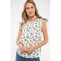 DeFacto Omuzları Volan Detaylı Çiçek Desenli Bluz