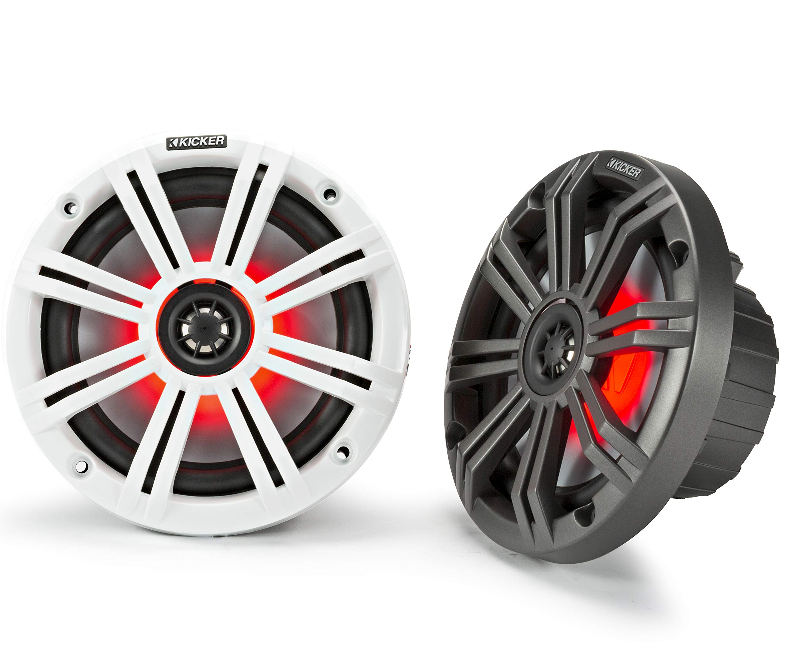 Kicker KM65 6.5-Inch (165mm) Marine Coaxial Speakers with 3/4-Inch Tweeters, LED, 4-Ohm, Charcoal and White Grilles by KICKER