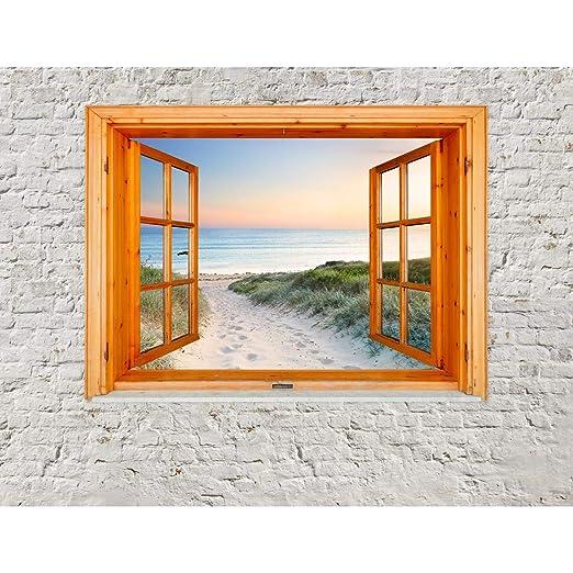 Fototapeten Fenster Zum Strand Meer 352 X 250 Cm Vlies Wand Tapete