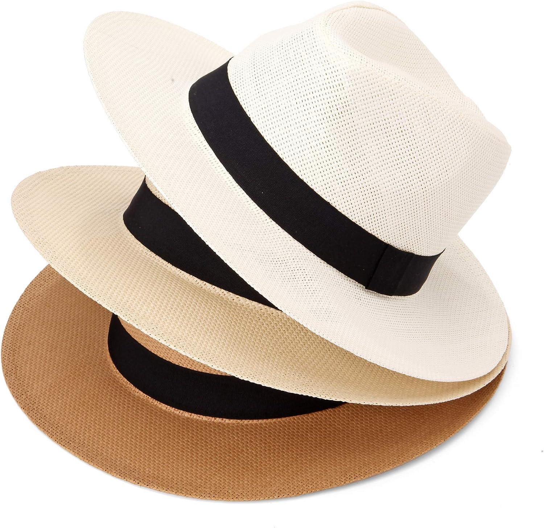 Michael Heinen Traditional Panamahut Fedora Trilby Cappello di Paglia Cappello Estivo Cappello da Uomo e da Donna