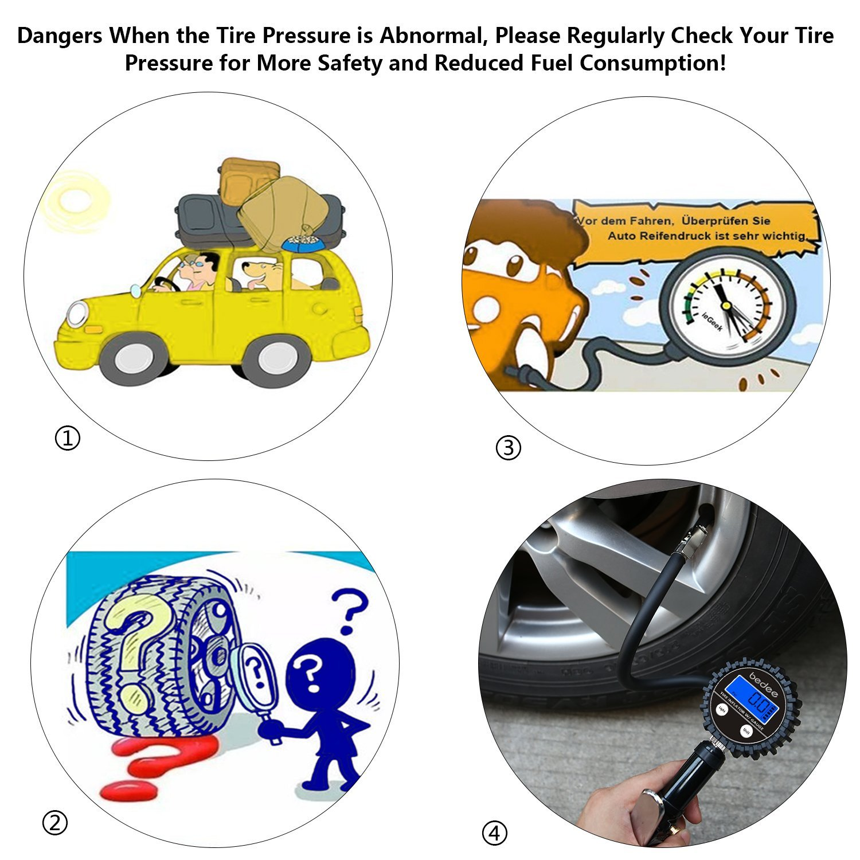 bedee Digital Tire Pressure Gauge Car Tire Inflator/Deflator Gun High Precision 200PSI LCD Screen Valve Core Tool, Compressor Accessories Car, Truck, SUV, Vehicle, Van, Bicycle Motorcyles