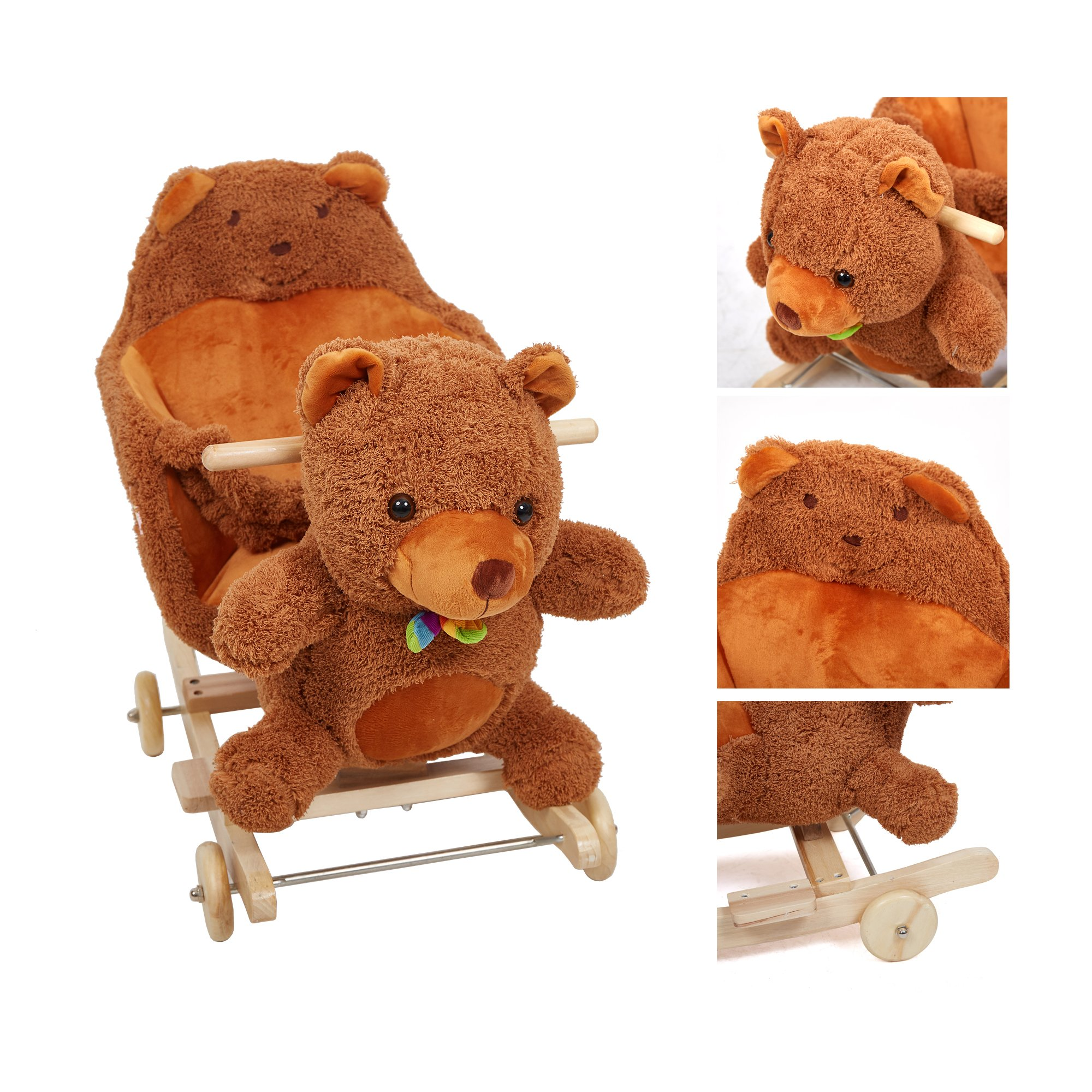Lucky Tree Rocking Horse Wooden Riding Toys Plush Brown Bear Ride on Toy with Wheels for kids 18 Months-4 Years,Bear by Lucky Tree (Image #6)