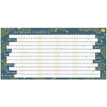 Calendario Lineal.Planificador De Pared 2019 De Boxclever Press Calendario Anual Lineal Para El Hogar O La Oficina Incluye Desde Enero A Diciembre 2019 En Ingles