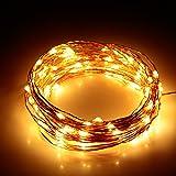 Albrillo Catena di luci 100 LED 10 m Filo di rame con controllo remoto, IP65 impermeabile, ghirlanda di luci per decorazione Natalizia, Festa, Matrimonio, Compleanno - Bianco caldo