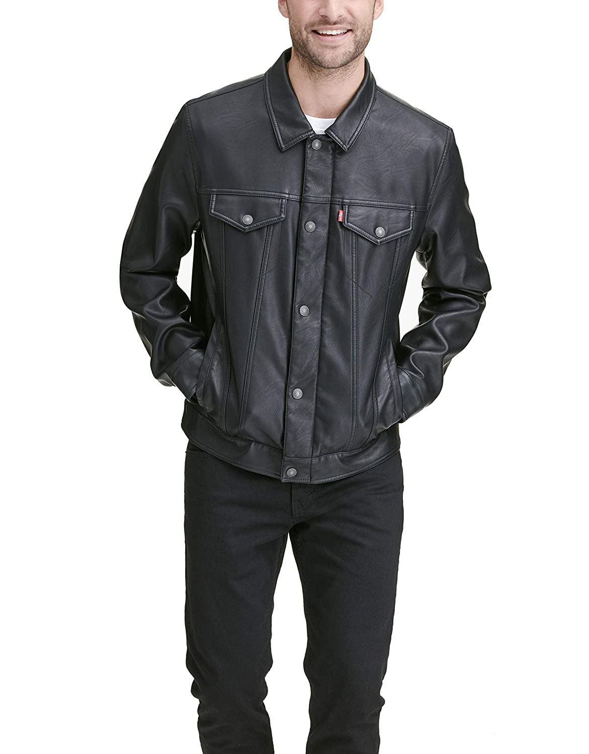 Levis Mens Smooth Lamb Touch Faux Leather Classic Trucker Jacket