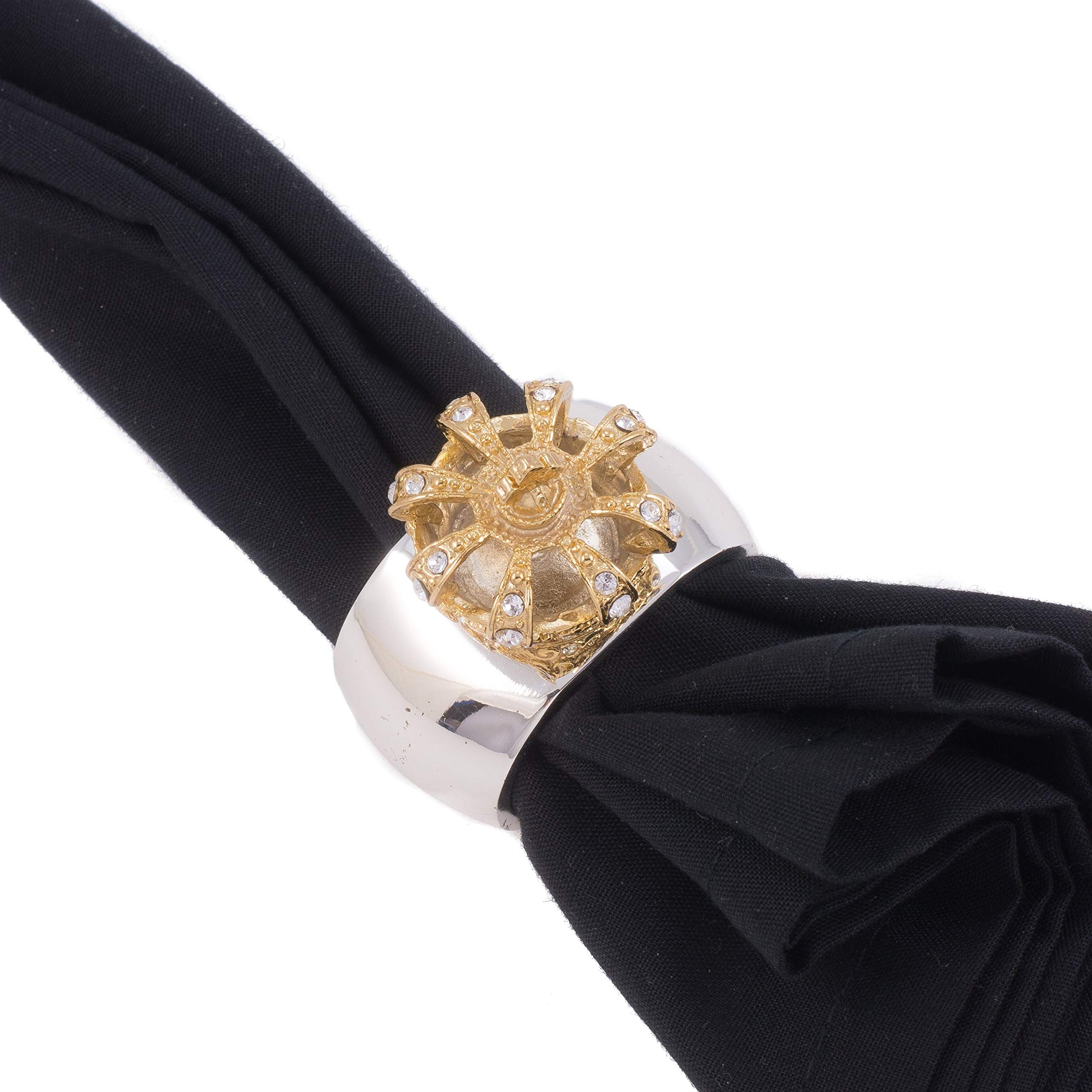 Isabella Adams Gold Crown Napkin Rings Featuring Swarovski Crystals | Set of 4