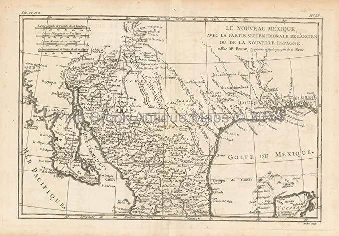 North Mexico Antique Map Bonne 1780 Original Mexican Decor History