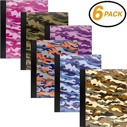 EmRaw Camouflage - Cuaderno de papel, 100 hojas, cuaderno de notas de oficina, diario escolar, cuaderno de notas, tapa dura, varios colores, pack de 6: Amazon.es: Oficina y papelería