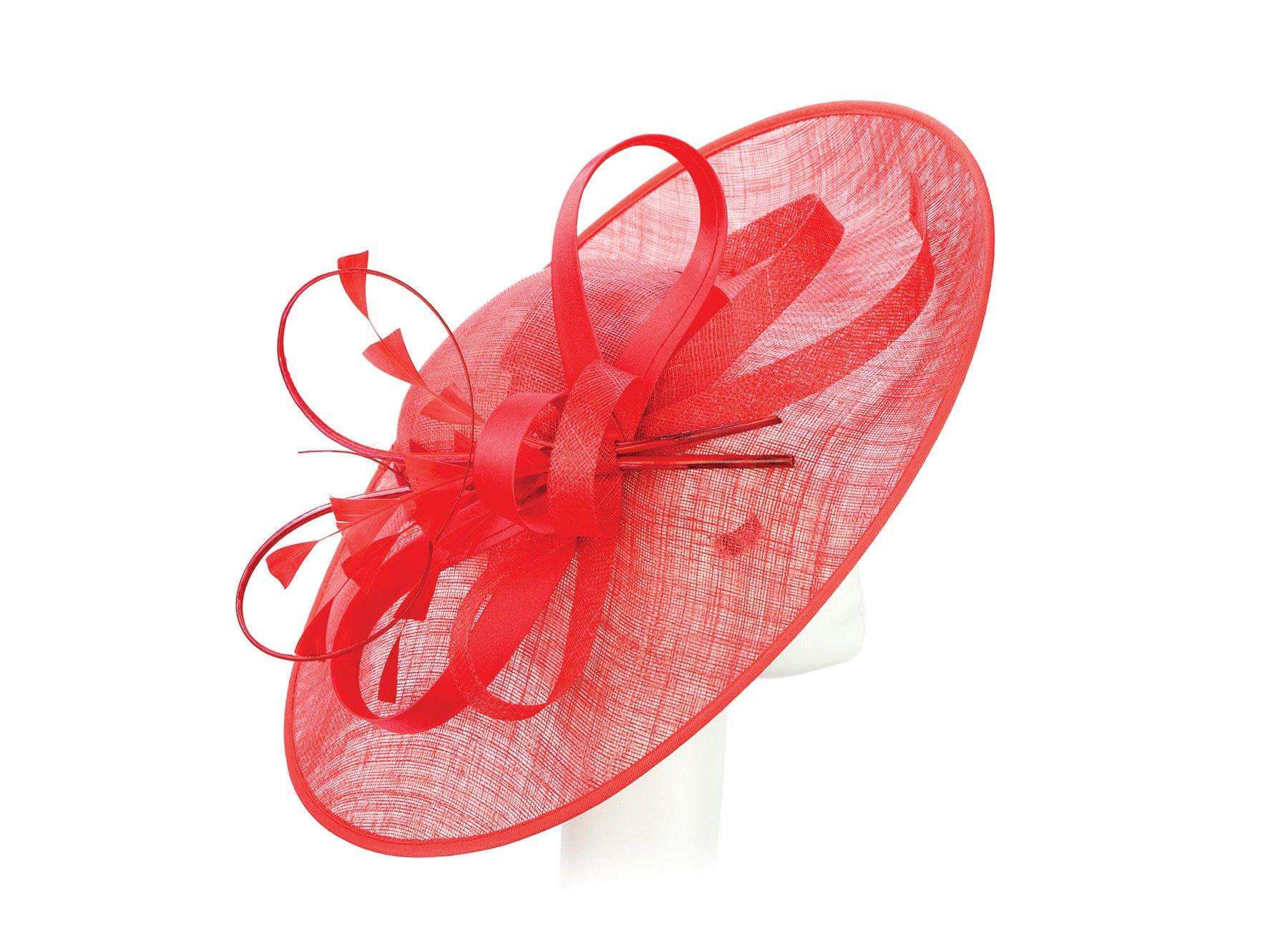 ChicHeadwear Womens Sinamay Fascinator Fashion Hat - Red