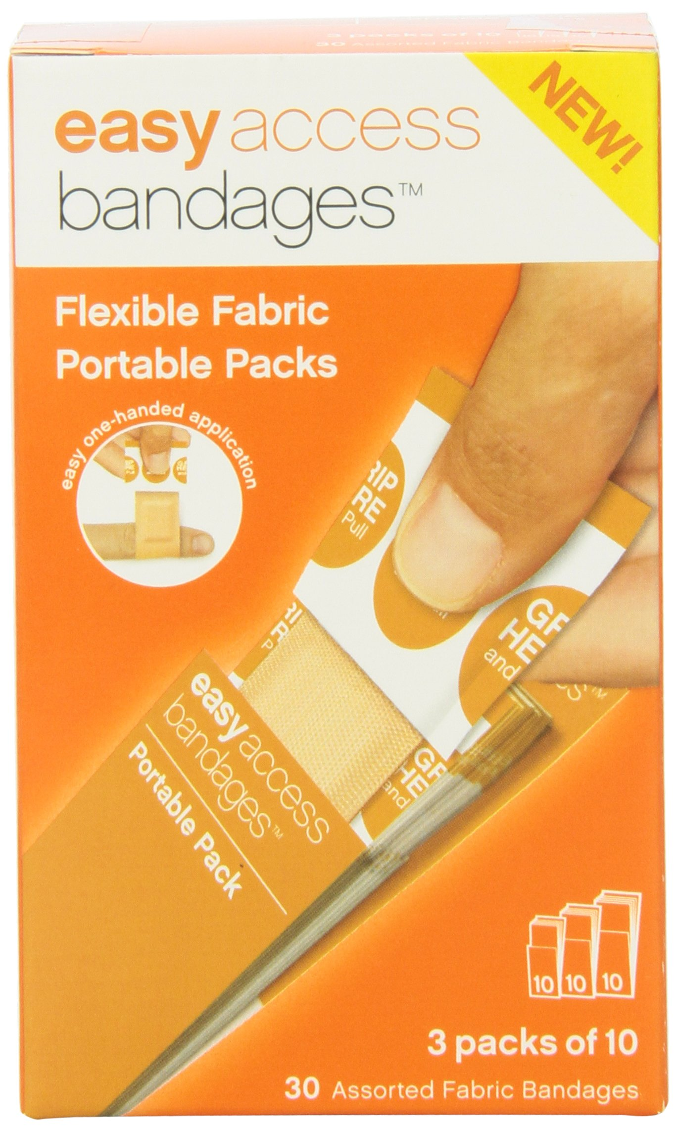 Easy Care Easy Access Bandage Fabric Assorted, Large, Medium and Junior, 30 Count