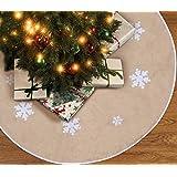 90shine Christmas Tree Skirt Decorations Xmas Burlap Snowflake Home Party Decor 48 Inch