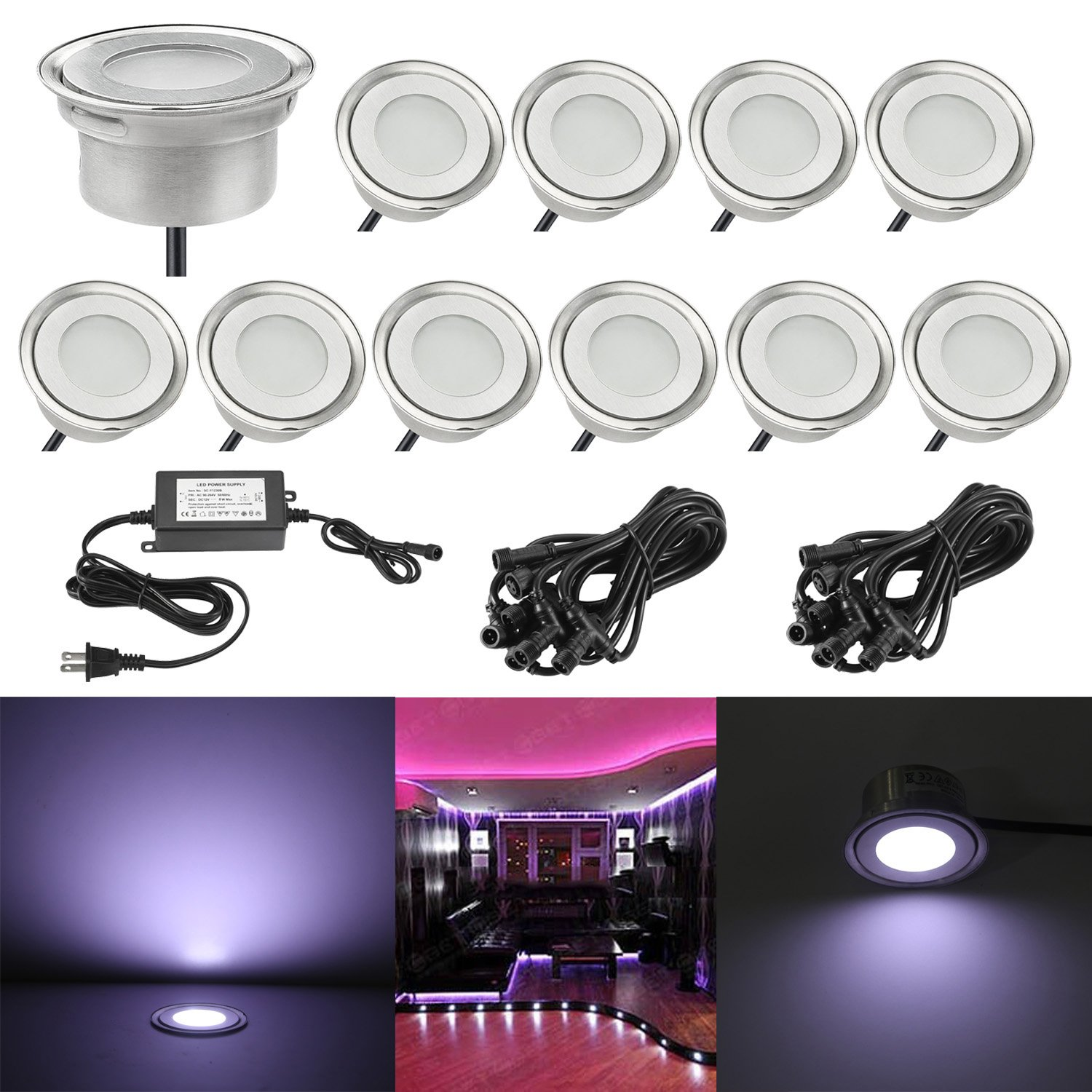 Low Voltage Landscape Lights, QACA 10pcs Outdoor Ground Deck Light LED Uplighting Garden Path Step Lignting for Pool Pathway Walkway Driveway Landscape IP67 Waterproof (Cool White)