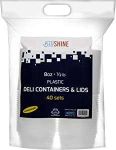 40 Sets – 8 Oz Plastic Containers With Lids Airtight And Leekproof, Washable and Reusable, Deli Food Storage Containers Microwave Dishwasher and Freezer Safe - BPA-Free, Recyclable - By BluShine