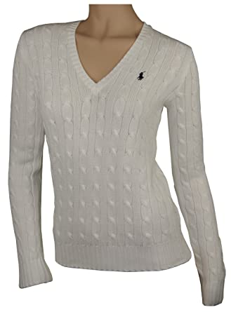 Ralph Lauren Womens Cable Knit Cotton Sweater V Neck S At Amazon