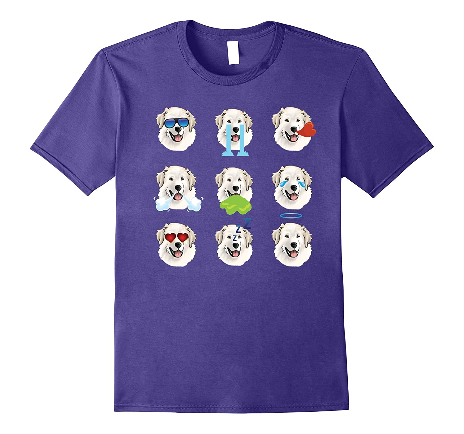 Nine Emoji Great Pyrenees Dog Emotion Face T-Shirt Gift-FL