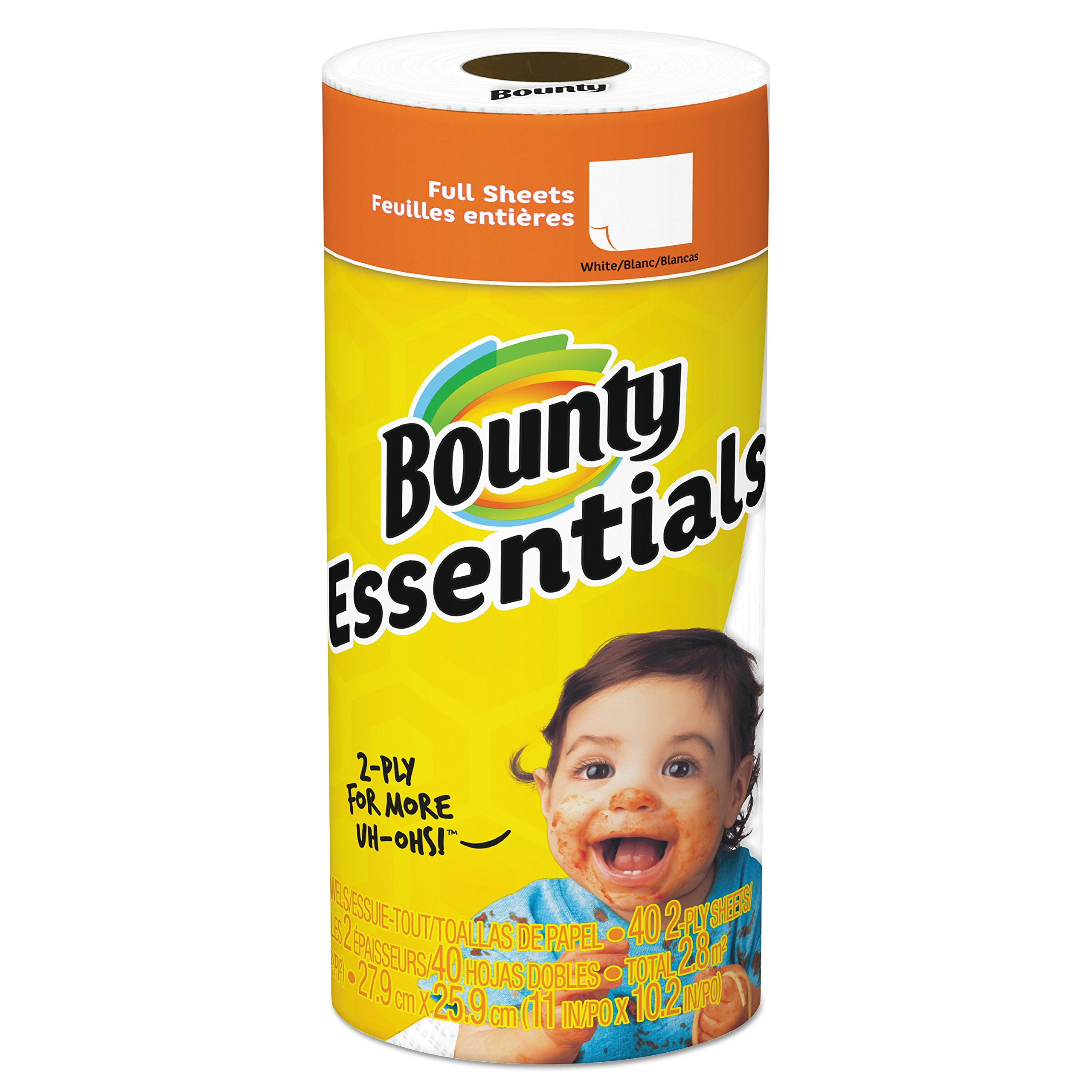 Bounty 92976CT Basic Paper Towels, 10.19 x 10.98, 1-Ply, 44 Per Roll (Case of 30 Rolls)